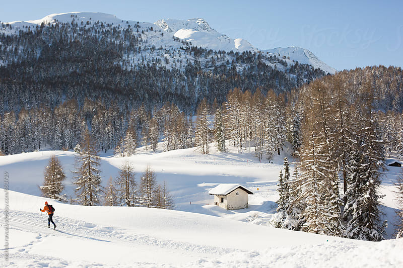 Beautiful winter landscape in the Swiss Alps by michela ravasio for Stocksy United
