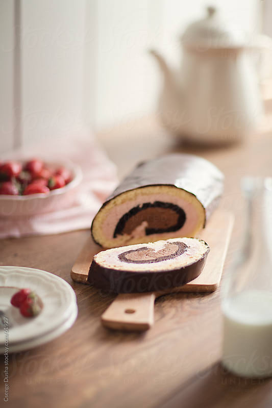 Chocolate and Strawberry roll by Csenge Dusha for Stocksy United