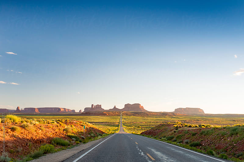 Mile 13 Forrest Gump Point on US 163 Leading Into Monument Valley Utah in Early Evening by JP Danko for Stocksy United