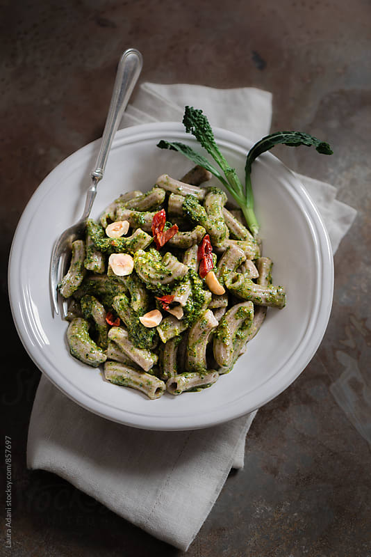 Maccheroni with cavolo nero pesto by Laura Adani for Stocksy United