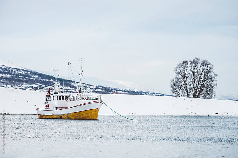 Fishing boat in a norwegian fjord by Juri Pozzi for Stocksy United
