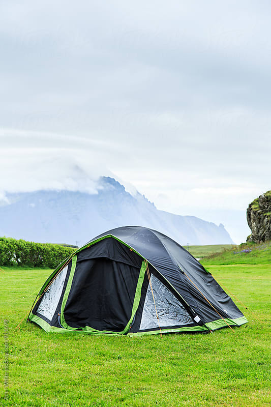 Tent in a camp ground .Hofn. Iceland by John White for Stocksy United