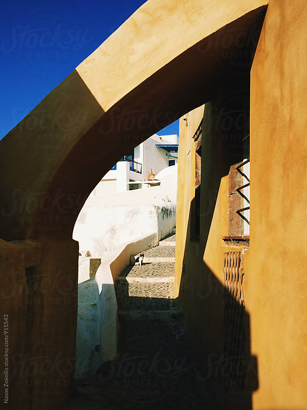 Traditional alley in Santorini, Greece by Nasos Zovoilis for Stocksy United