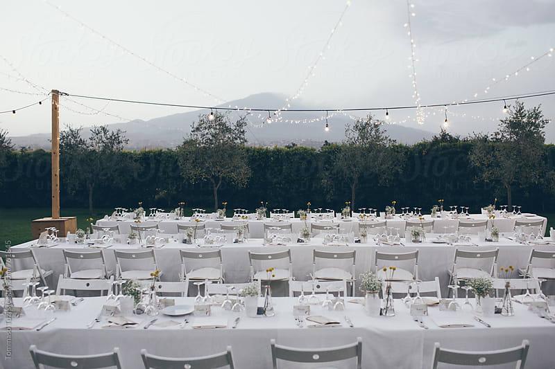 Wedding dinner table under volcano Etna , Italy by Tommaso Tuzj for Stocksy United