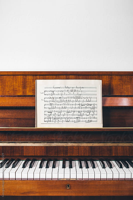 19th Century Handwritten Musical Score on Piano by Giorgio Magini for Stocksy United