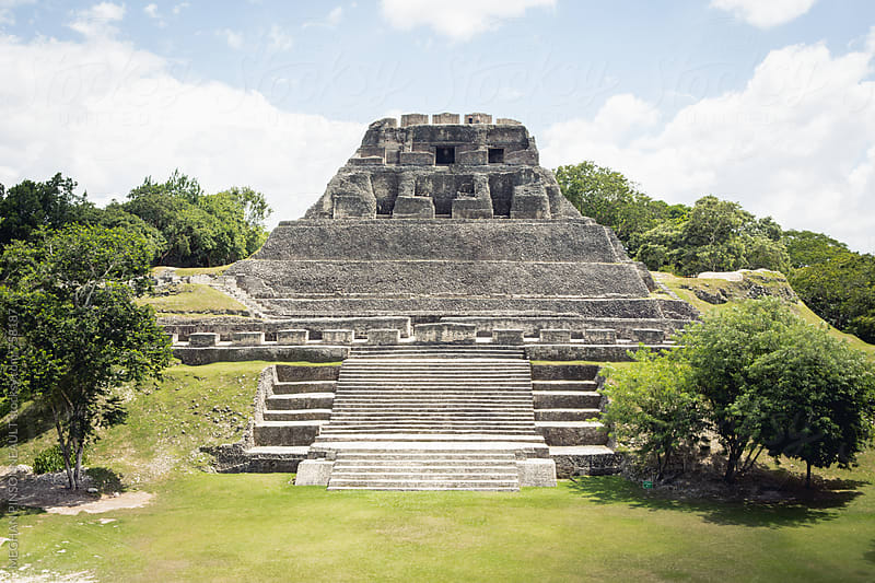 Mayan Temple with Green Grassy Plaza by MEGHAN PINSONNEAULT for Stocksy United