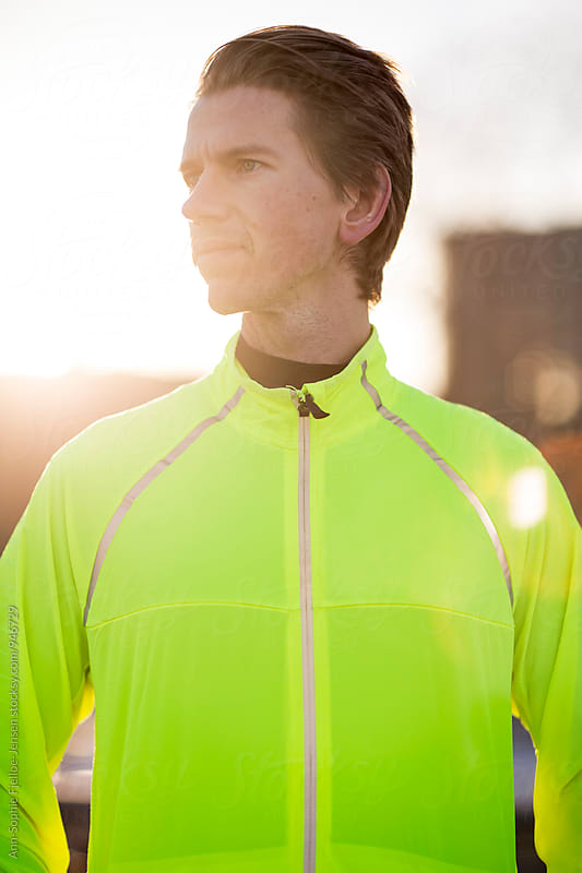 Male runner by East River by Ann-Sophie Fjelloe-Jensen for Stocksy United