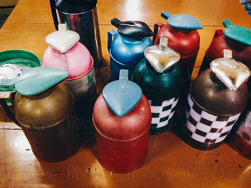 Burmese Vintage Thermos Flasks by VISUALSPECTRUM for Stocksy United