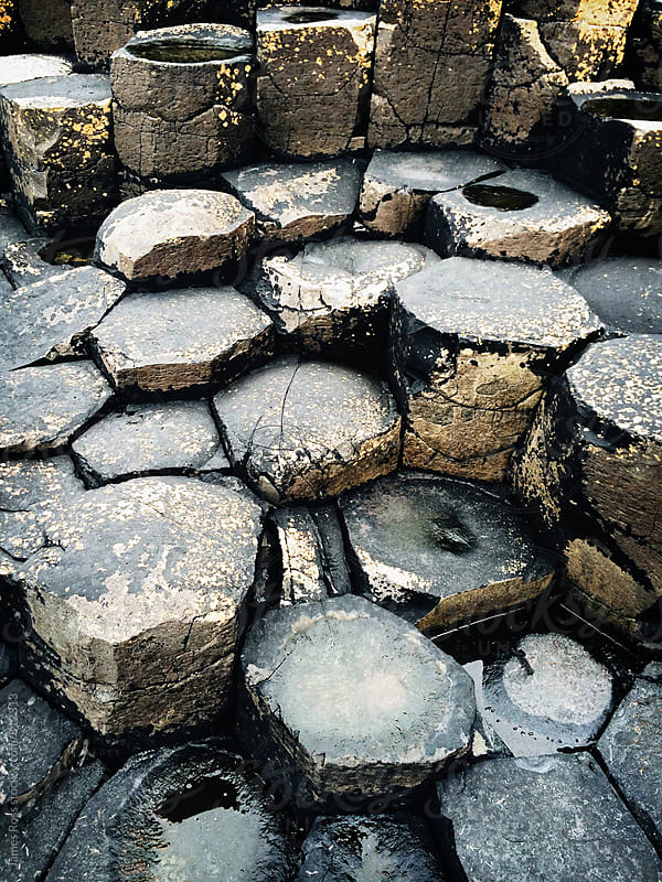 Hexagonal stone columns at Giants Causeway, Ireland by James Ross for Stocksy United