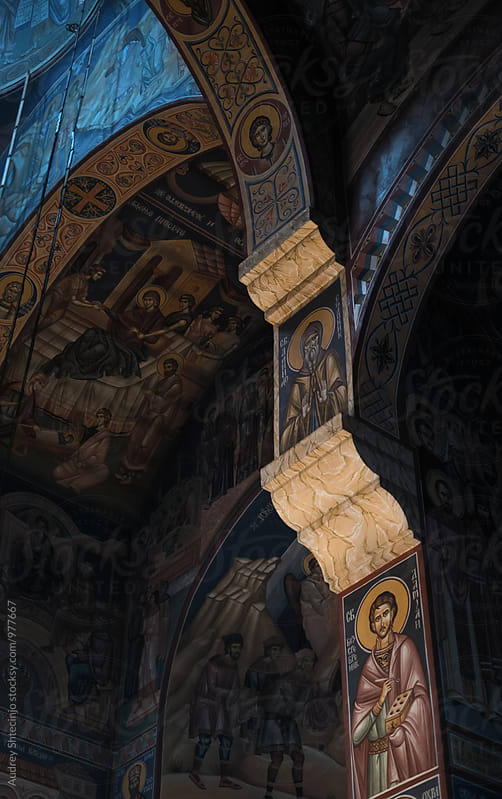 Interior/fresco detail of Jovan Vladimir church/first Serbian Saint. by Audrey Shtecinjo for Stocksy United