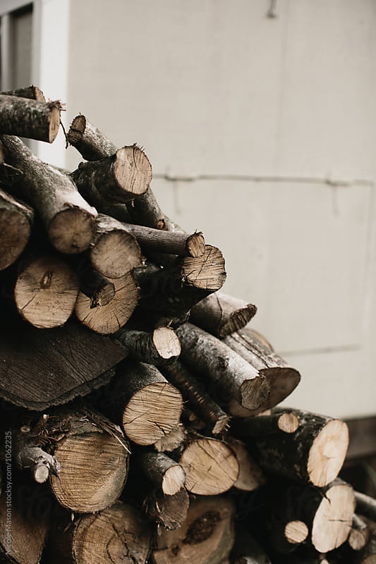 stack of logs for firewood by Nicole Mason for Stocksy United
