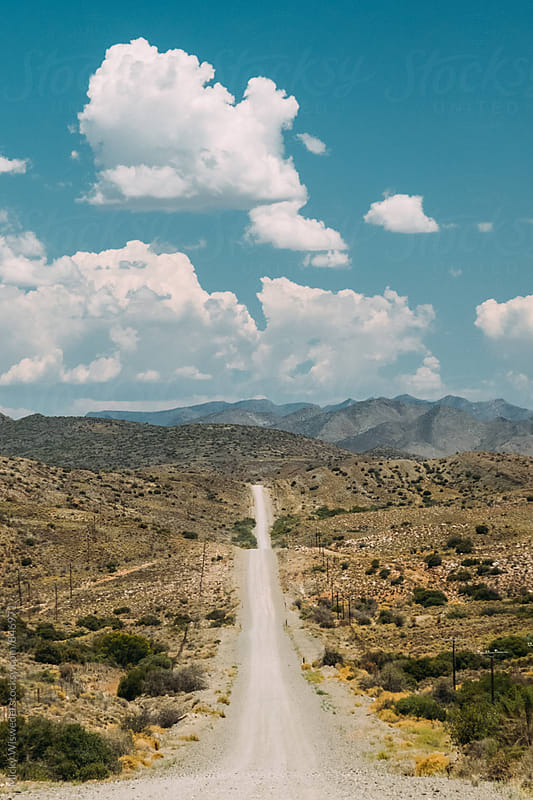 Long straight empty desert road in the Karoo region of South Africa by Micky Wiswedel for Stocksy United