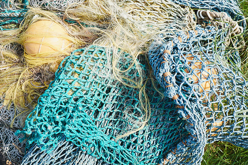 Detail of fishing nets. Brancaster Staithe, Norfolk, UK. by Liam Grant for Stocksy United