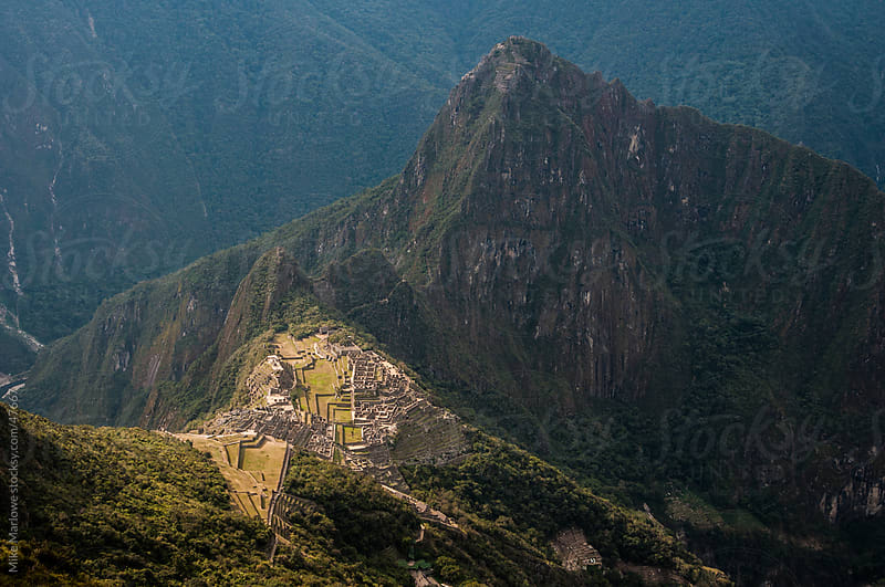 Ariel shot of Machu Pichu in Peru by Mike Marlowe for Stocksy United