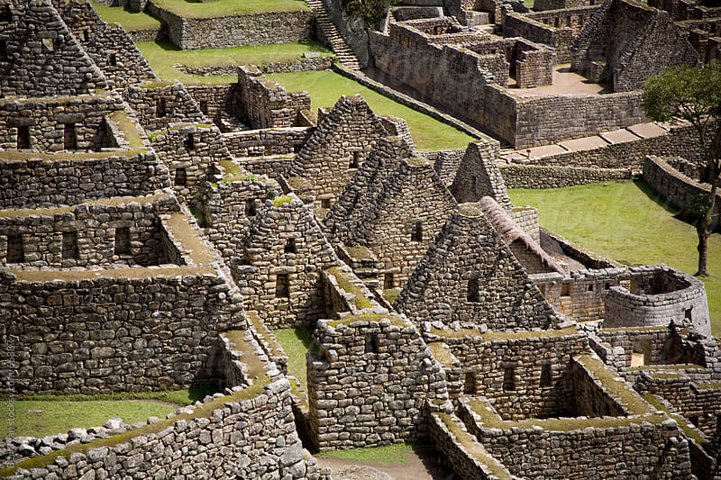 Machu Picchu: detail view of the stone walls of the citadel in Peru by Ben Ryan for Stocksy United