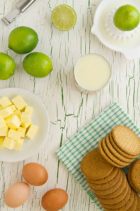 Key Lime Pie Ingredients laid out, viewed from above by Kirsty Begg for Stocksy United