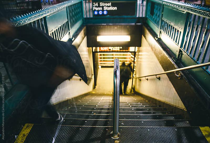 Subway entrance. Long Exposure by Alejandro Moreno de Carlos for Stocksy United