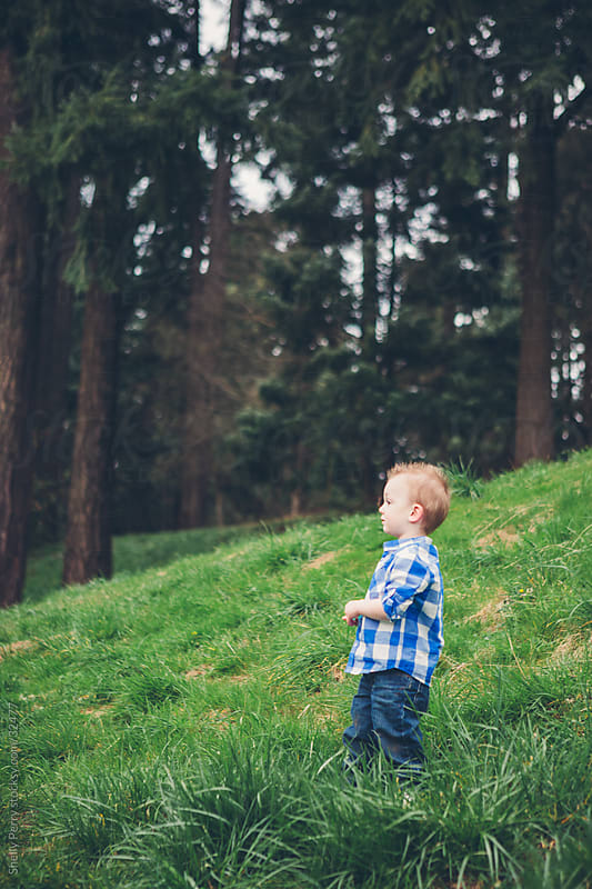 Little Toddler Boy Standing on a Grassy Hill by Shelly Perry for Stocksy United
