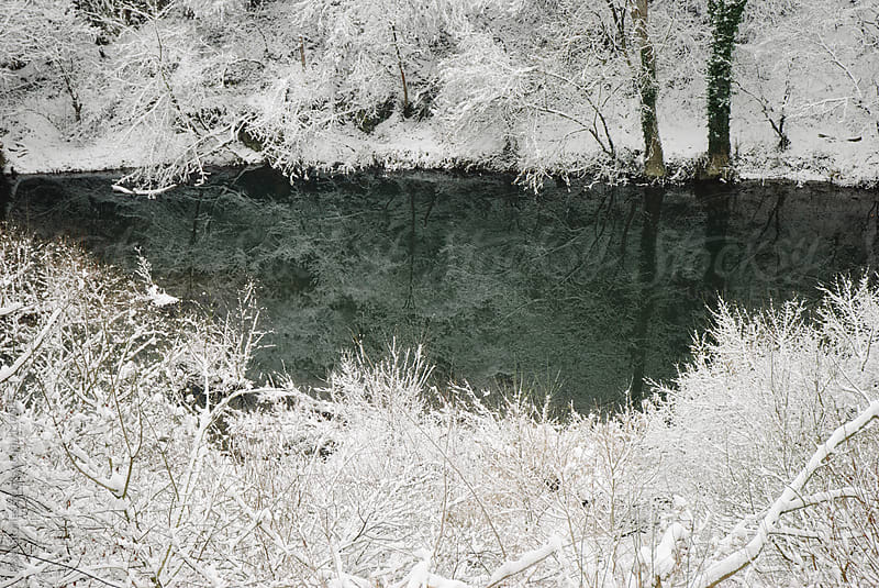 River in snowy forest by Pixel Stories for Stocksy United