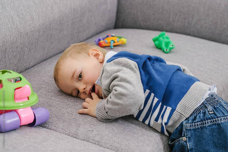Portrait of a Cute Little Baby Boy  by Aleksandra Jankovic for Stocksy United