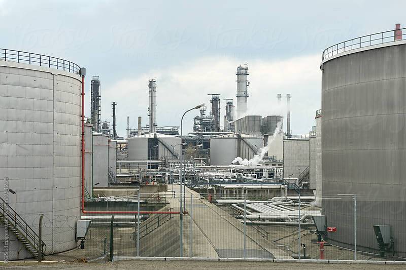 Oil refinery plant by RG&B Images for Stocksy United