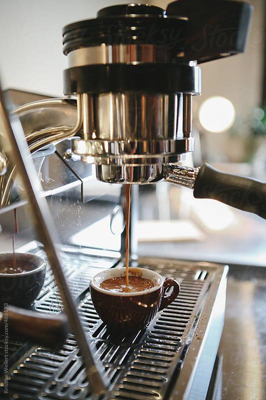 Close up of Espresso Machine Making Espresso by Kristine Weilert for Stocksy United
