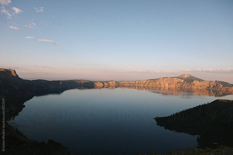 Crater Lake in Oregon at Sunset by Kristine Weilert for Stocksy United