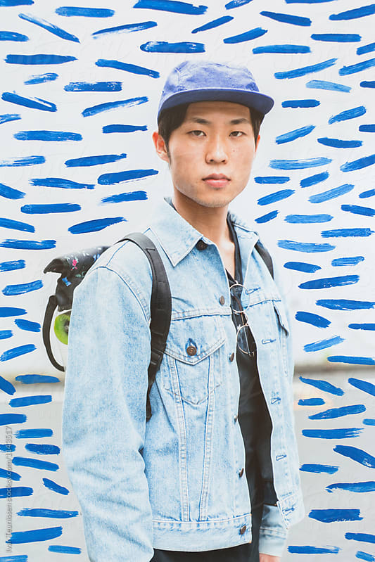 Painted portrait: Young Japanese man Shibuya, Tokyo, Japan
