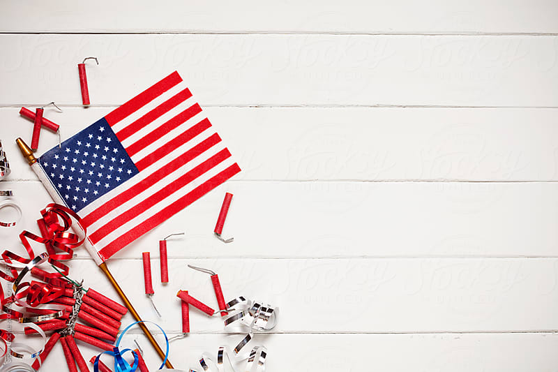 Background: United States Flag with Firecrackers by Sean Locke for Stocksy United