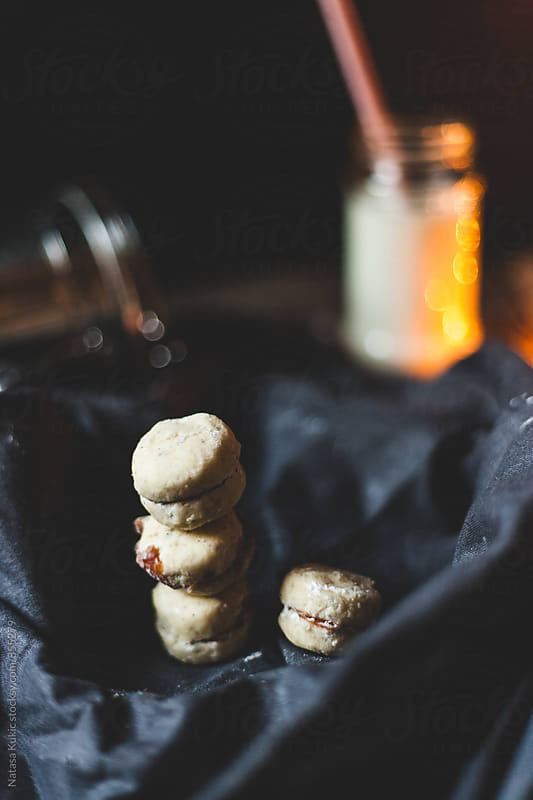 Gingerbread and vanilla butter cookies with jam by Natasa Kukic for Stocksy United
