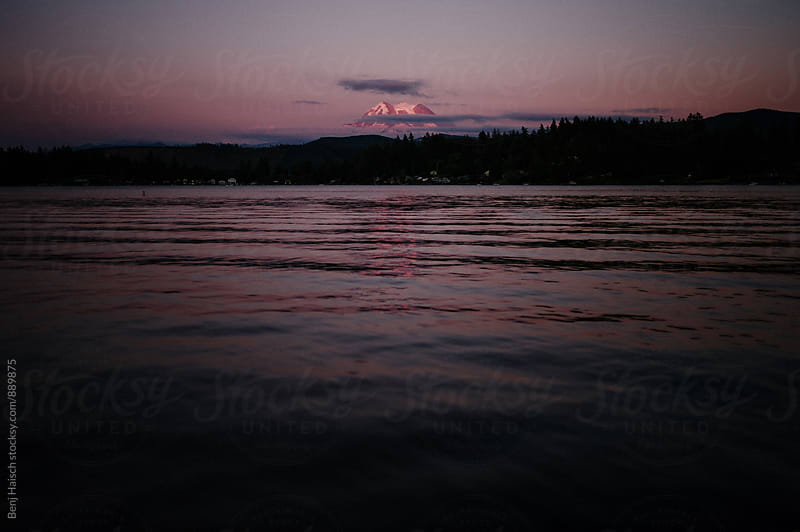 Sun set over mount Rainier by Benj Haisch for Stocksy United