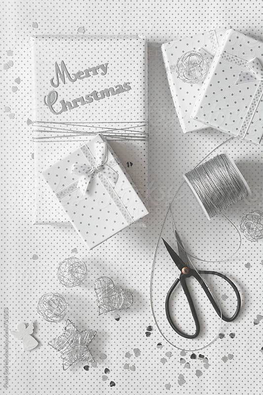 Silver themed Christmas presents by Pixel Stories for Stocksy United