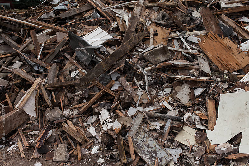 Destroyed building materials from a house demolition by Amanda Worrall for Stocksy United