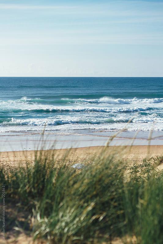 sandy beach landscape at the atlantic ocean by Leander Nardin for Stocksy United
