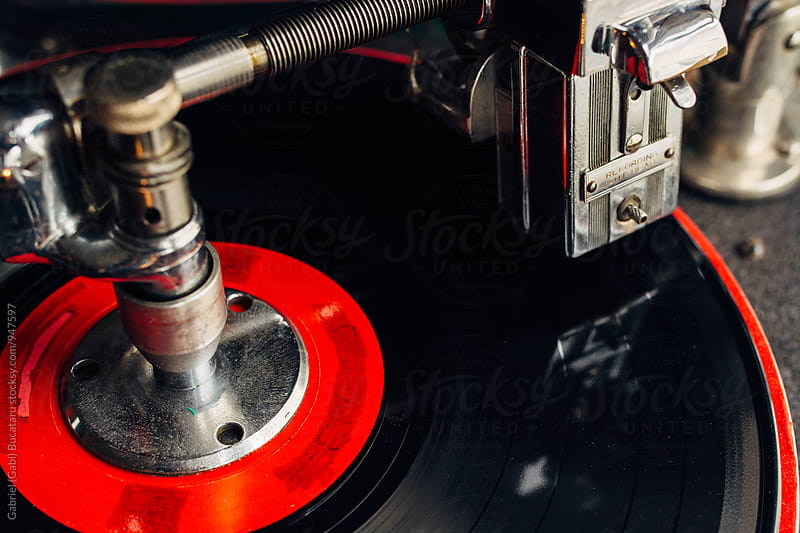 Spinning vinyl on an old record cutting machine by Gabriel (Gabi) Bucataru for Stocksy United