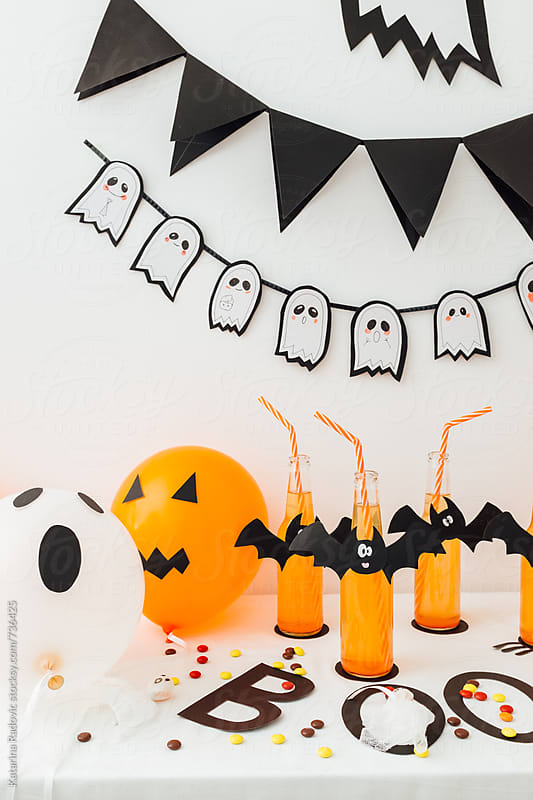 Halloween Party Decoration With Balloons and Drinks by Katarina Radovic for Stocksy United