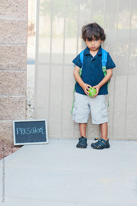 boy's first day of preschool by Tara Romasanta for Stocksy United