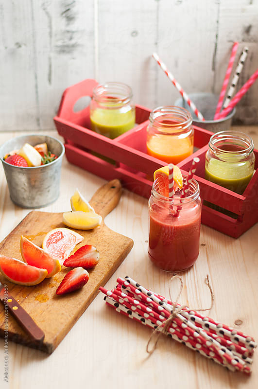Homemade fruit smoothies by Aleksandra Jankovic for Stocksy United