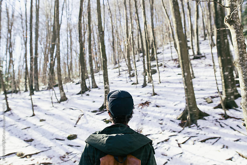 Back view of a mountaineer on the snowy forest. by BONNINSTUDIO for Stocksy United