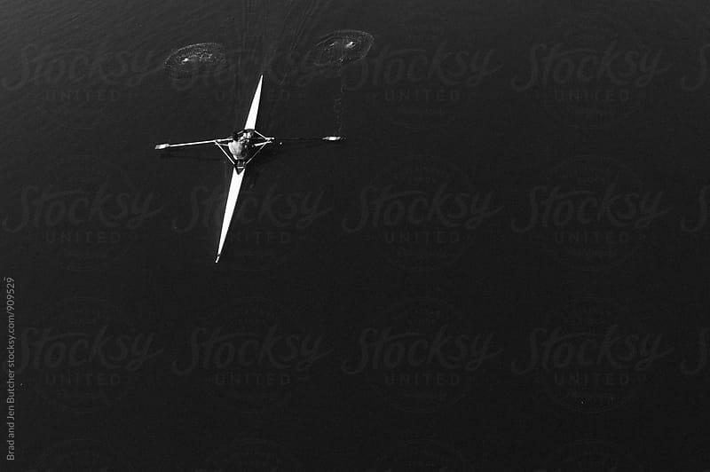 Single Rower on River by Brad & Jen for Stocksy United