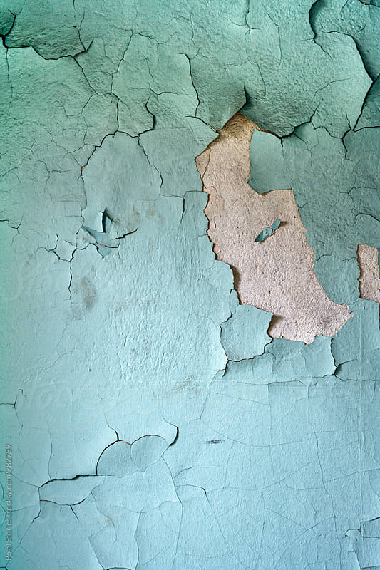 Weathered blue wall by Pixel Stories for Stocksy United