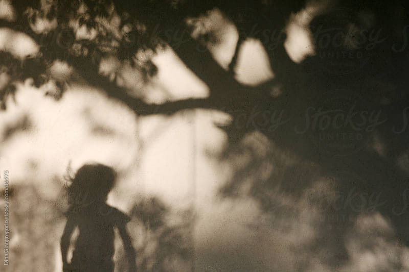 Shadow of child with hair blowing next to a large tree by Dina Giangregorio for Stocksy United