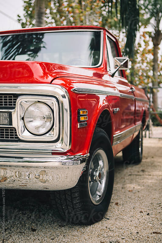 Classic Red Pickup Truck by Stephen Morris for Stocksy United