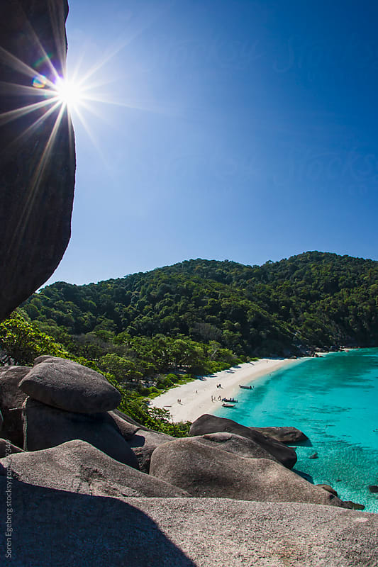 Tropical island bay with white sand beach and turqoise sea water by Soren Egeberg for Stocksy United