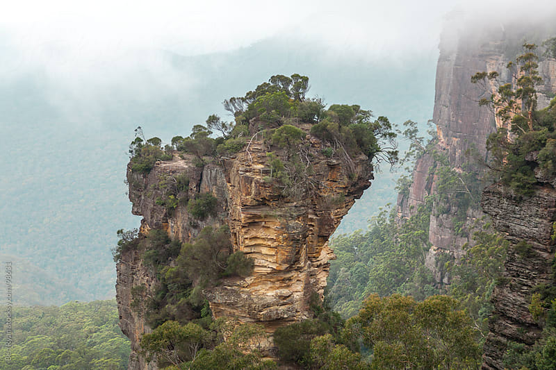 Rocky bluff in the Blue Mountains, Australia by Ben Ryan for Stocksy United