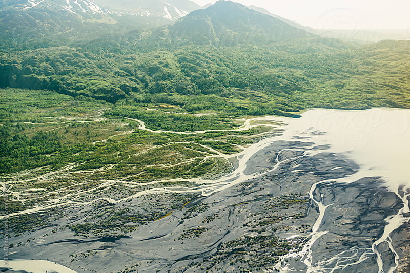 A Alaskan River Delta from an Aerial Perspective by Willie Dalton for Stocksy United