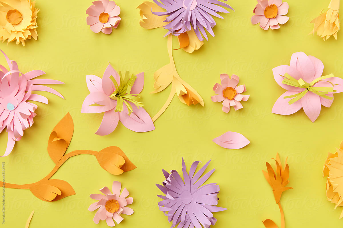 Floral Colorful Paper Pattern With Flowers And Leaves On Yellow