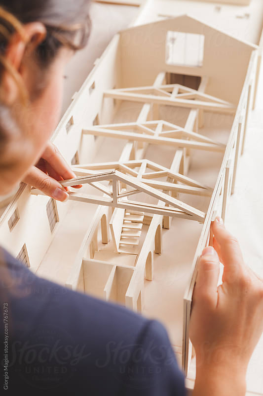 Architect Creating an Housing Model Made of Cardboard by Giorgio Magini for Stocksy United