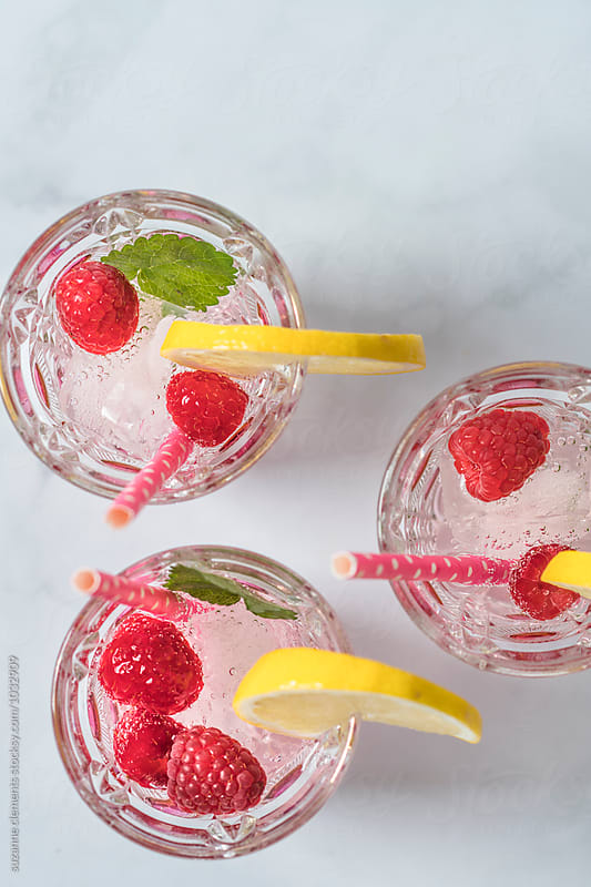 Healthy Summer Raspberry Fizz Tonic by suzanne clements for Stocksy United