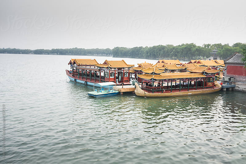 Boats at the Summer Palace in Beijing by Helen Sotiriadis for Stocksy United
